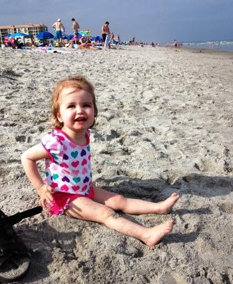 happy beach lady